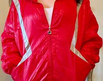 80's Retro Red FILA Striped Windbreaker Jacket