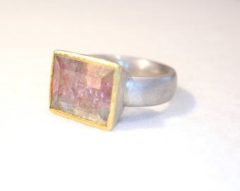 Silver and gold ring with tourmaline watermelon