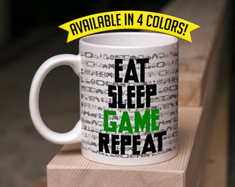 Gamer Mug Gift - Eat Sleep Game Repeat - Coffee & Tea 11 Ounce Mug Perfect Gift for Him and Her Gamers Valentine's Day