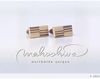 wooden cuff links wood walnut maple handmade unique exclusive limited jewelry - mahoshiva k 2017-36