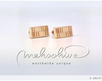 wooden cuff links wood cherry maple handmade unique exclusive limited jewelry - mahoshiva k 2017-112