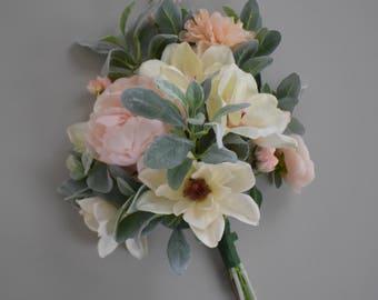 Wedding Bouquet, Bridal Bouquet, Bridesmaid Bouquet, Magnolia and Peony Bouquet