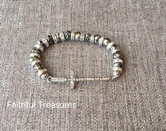 Sideways rhinestone beaded cross bracelet