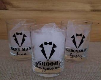 Groom, Best Man and Groomsman Glass Set, Whiskey Glass, Custom Glasses