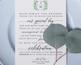 Wreath Initials Reception Thank You Card Printable - Thank You Note - Table Thank You