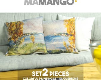 "Unique SET 2 giant pillows with colorful printed details of painting, 16x16"" or 26x26"", Cotton cushion cover - Limited Edition of 100"
