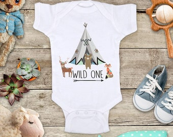 Wild One Tepee Bear Fox Deer boho hippie hipster Bohemian Birthday Shirt or Baby one piece Bodysuit Birthday gift has matching tank for mom