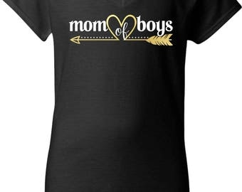 Mom of Boys Foil Heart Arrow With Rhinestones