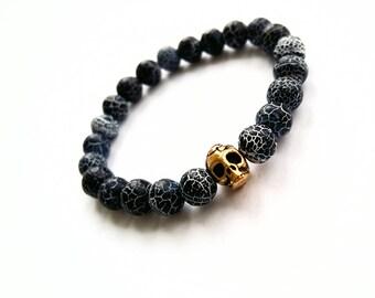 Frozen Agate Skull Bracelet