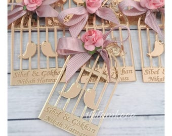 50 Acrylic Glass Bird Cage Magnet Wedding Favors - Laser Engraved Personalized Favors- Lasercut Wedding Gifts- Guest Gifts- Pink and Gold