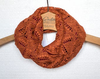 Knit Endless Infinity Scarf, Lace Shawl, Circular Caramel Lace Scarf, Natural Materials Silk and Merino Wool, Womens Winter Neck Warmer