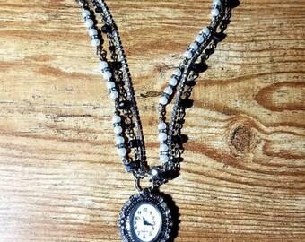 Elegant Multi Element Watch Necklace