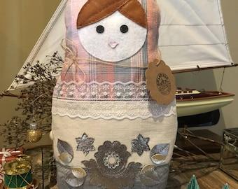 Matryoshka Russian Doll, Babushka Fabric Pillow, Shabby Chic Style