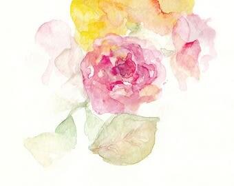 Autumn Rose flower watercolour painting. Print
