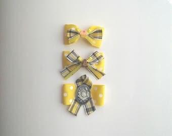 Sunshine hair clip or sunshine yellow hair band set, gingerbread, rose, cupcake