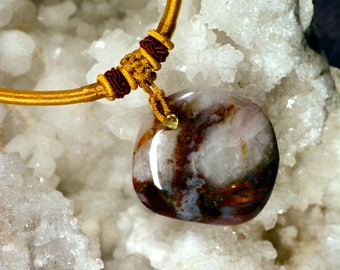 Ocean Agate pendant multicolor blood and gold N38