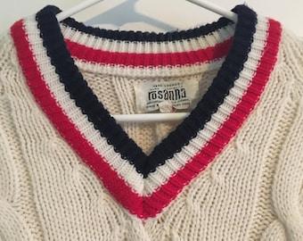 Vintage V-Neck Wool Sweater