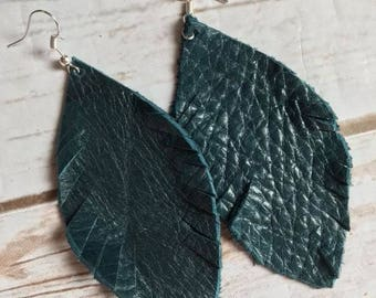 Teal Blue Dark Turquoise Feather Leather Earrings