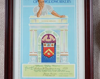 Antique framed 50 years service print issued by Amalgamated Society of Woodworkers