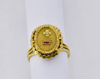 """Vintage 18ct. gold French """"medaille d'amour"""" ring."""