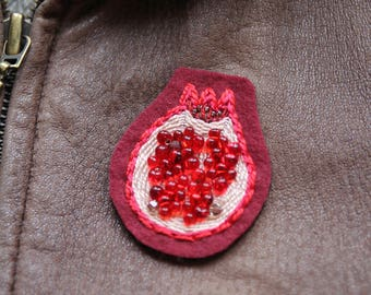 Hand Embroidered Pomegranate Patch Brooch