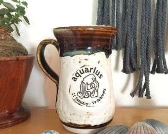 AQUARIUS // Hand Thrown Pottery Coffee or Tea Mug // Stone & Brown // Stoneware // Zodiac