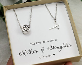 mother of the bride gift from daughter,mother of the bride gift from bride,Mother Daughter Necklace Set Jewelry Dandelion Necklace