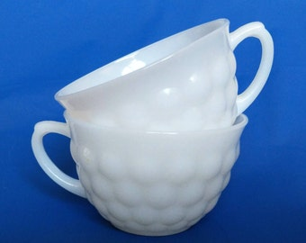Milk Glass Bubble Teacups - Pair