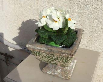 Glazed Pedestal bowl / Vintage pedestal dish with enameled painting / Ceramic pedestal bowl