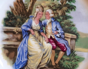 The Lovebirds Vintage Plate ~ W.H Grindley & Co LTD ~ Satin White Green Gold ~ Love Romantic ~ Staffordshire Ironstone Broadhurst Burslem