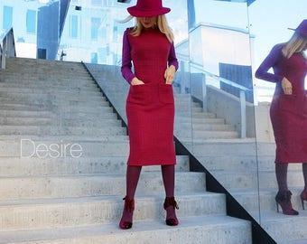 Wool fuchsia stretch dress
