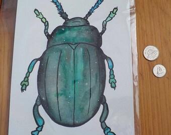 Watercolour Galaxy beetle Print