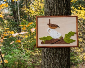 Wooden Picture - Bird Intarsia