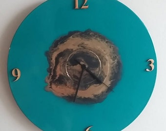 Upcycled Clock - Teal, Gold, Black