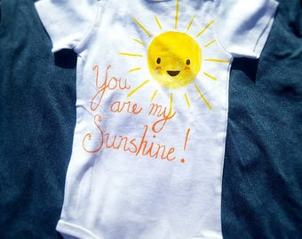 "Custom Hand-painted Short Sleeve ""You Are My Sunshine"" Bodysuit"