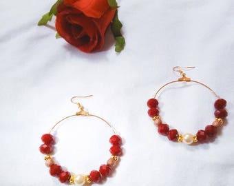 Gold plated Carmine red bead hoop earrings