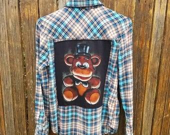 Freddy Fazbear, Unique Up-cycled Graphic Flannel