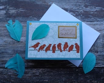 Handmade Bird Birthday card, Greeting card
