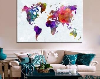 Watercolor World Map Push Pin Watercolor Push Pin Travel Map Push Pin Map Watercolor Push Pin World Map Map Push Pin Map Canvas World Map