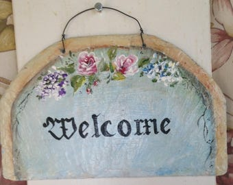 Painted slate Welcome sign