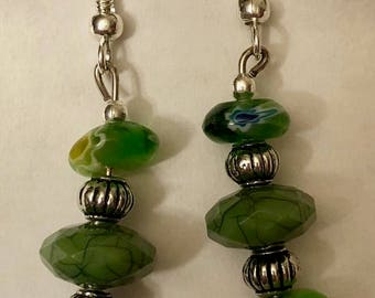 Green Glass with Metal Accents
