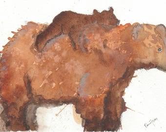 Mama Bear, original watercolour painting A5
