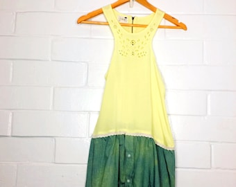 Spring Two colored Yellow Green Upycled clothing Bleached Cut out Tank (009)