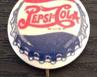 Vintage Pepsi Cola Soda Advertising Pinback Button Double Dot