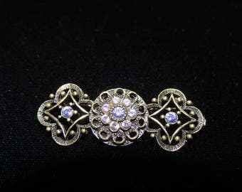 Art Deco Style Broach with Amethyst Colored Glass Beads
