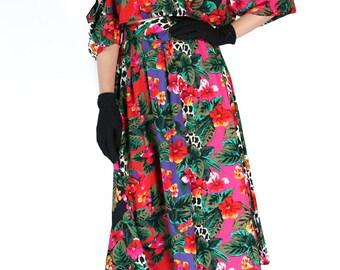 Redesigned Vintage Floral Cold Shoulder Maxi Skirt Set (2 Pieces)
