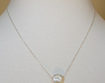 Freshwater Coin Pearl on Sterling Silver  FREE SHIPPING
