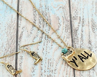 Gold tone Y'all necklace set with Boot Earrings
