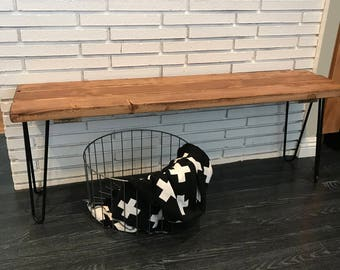 Handmade bench with hairpin legs