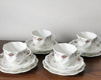 Coalport vintage bone china set of 4 teacups, 4 saucers, and 4 tea plates